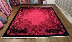 8×10 OVERDYED ROSE ART DECO FLORAL WOOL RUG 2775