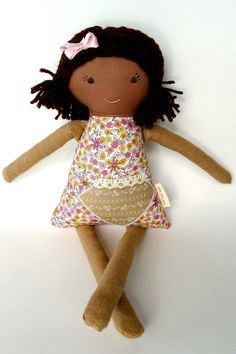 Handmade Rag Waldorf Doll, African American, Brown Skin, Cloth Doll, Personalized, Millie