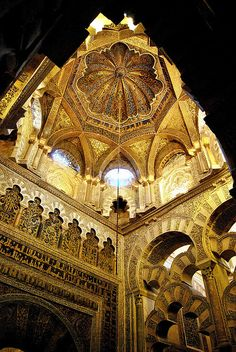 Mezquita Interior Mihrab, Spain Mosque–Cathedral of Córdoba Spain Architecture Antique, Detail Architecture, Islamic Architecture, Historical Architecture, Amazing Architecture, Art And Architecture, Renaissance Architecture, Beautiful Mosques, Beautiful Buildings