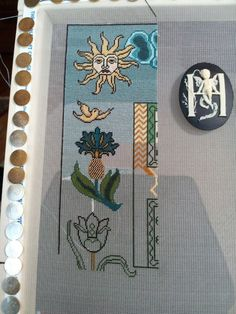"""Scarlet Letter's """"The Manifesto"""" Sampler on 40 count silk gauze.  A work in progress This is going to be amazing on the 40 count silk gauze.  Can't wait to see more of her progress."""