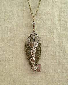 Silver Swirls Angel's Wings Skeleton Key Necklace by GypsyWhims, $22.00