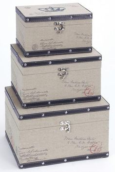 Crown Leather Boxes - Set of 3