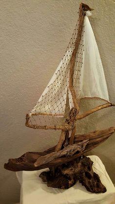 Driftwood Sailboat by ElementsWoodCreation on Etsy