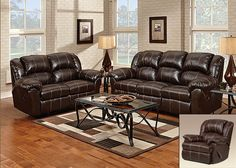 1000 Brandon Brown Bonded Leather Double Reclining Chaise Rocker/Recliner