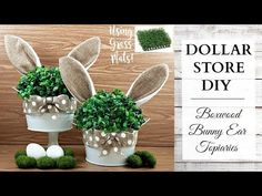 Dollar Store DIY ~ Boxwood Bunny Ear Topiaries ~ Easter & Spring Rustic Home Decor! - Craft World Dollar Tree Decor, Dollar Tree Crafts, Easter Projects, Easter Crafts, Bunny Crafts, Easter Ideas, Spring Crafts, Holiday Crafts, Diy Osterschmuck