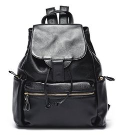 Mlife Genuine Leather Women Flap Backpack Black *** More info could be found at the image url.(This is an Amazon affiliate link and I receive a commission for the sales)