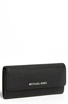MICHAEL Michael Kors Saffiano Leather Carryall Wallet available at #Nordstrom $148