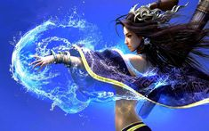 Fantaisie Sorcière Eau Bleu Asiatique Fond d'écran