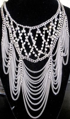 NWT Massive Silver Tone Draped Chains & Rhinestone Necklace Earring Set