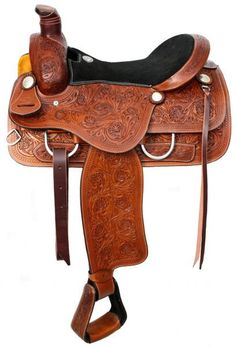 "16"" Double T Roper style saddle with suede leather seat."