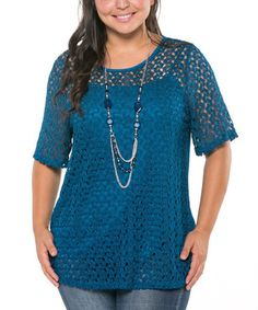 Another great find on #zulily! Teal Lace Scoop Neck Top & Necklace - Plus by Essential Collection #zulilyfinds