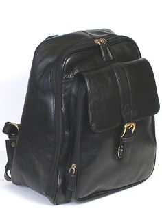 Scully Accessories Black Glz-Calf Hidesign Leather Travel Backpack
