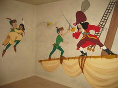 peter pan playroom different scenes painted around the room