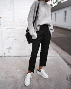 Oversized grey sweater neat black trousers Stan 2019 Oversized grey sweater neat black trousers Stan The post Oversized grey sweater neat black trousers Stan 2019 appeared first on Sweaters ideas. Fashion Mode, Look Fashion, 90s Fashion, Fashion Tips, Womens Fashion, Fashion Clothes, Korean Girl Fashion, Latest Fashion, Classy Fashion