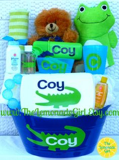 Personalized Baby Shower Gift Basket Set Boy or Girl, Alligator Gift Basket, Baby Shower Gift by TheLemonadeGirl, $45.00