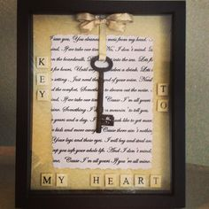 Skeleton key - key to my heart collage  My boyfriend moved to Florida so I got crafty and put this little collage together for him to hang on his wall