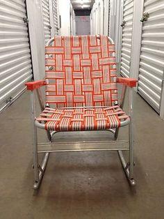 Vintage Webbed Lawn Rocking Chair on eBay!