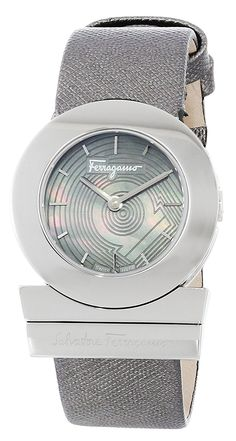 Salvatore Ferragamo Women's FP5010013 'Gancino' Stainless Steel Watch with Saffiano Leather Band -- Check this awesome image  (This is an amazon affiliate link. I may earn commission from it)