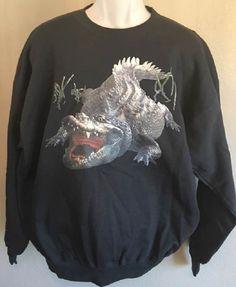Alligator Sweatshirt Alligator Gator Snapping Hanes Heavyweight Black Size Large by AlwaysInStitchesCo on Etsy