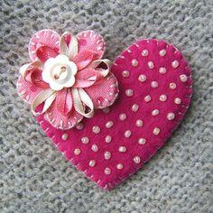 coração em feltro