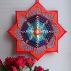Svadhisthana Chakra - Woven Yarn Mandala, Ojo de Dios, Eye of God - Wall Hanging, Boho Interior decor for Home Art Cafe Yoga Meditation Spa God's Eye Craft, Dream Catcher Art, Gods Eye, Craft Free, Weaving Projects, Fabric Jewelry, Mandala Art, String Art, Fall Crafts