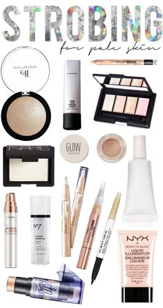 Is Strobing? The best strobing products for pale skin! What is strobing? Strobing focuses solely on highlighter, and you're skipping the chiseled out contour of the past! Pale Makeup, Makeup Looks, Sleek Makeup, Makeup Sets, All Things Beauty, Beauty Make Up, What Is Strobing, Makeup Dupes, Strobing Makeup