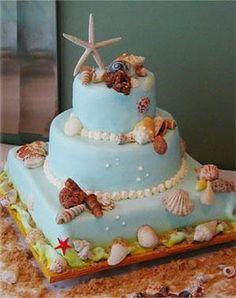 Espectacular torta de #boda con diseño moderno e innovador, con una #decoracion marina http://www.bodasmargarita.net