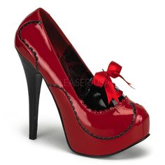 16e0cbc4fe Bordello Teeze 01 Red Patent Concealed Platform Court Shoes with Black 5  Inch Stiletto Heel and Trim