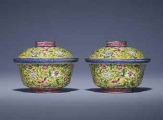 Chinese C18th covered bowls , enamel on gilt metal, 12cm