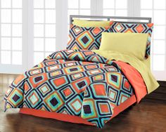 Geometric Diamond Teen Bedding for Boys or Girls Twin XL Full or Queen Comforter Sets Brown & Coral
