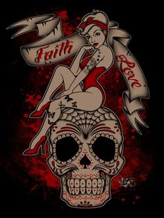 Skull pin up girl tattoos designs on source : http://joebeauty.net