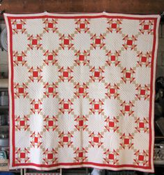 Antique Quilt Crown of Thorns Quilt in Red, Etsy, RiverHouseDesigns