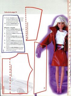 Barbie clothing pattern. Diy Clothes Patterns, Barbie Sewing Patterns, Doll Dress Patterns, Sewing Dolls, Clothes Crafts, Diy Barbie Clothes, Fairy Clothes, Sewing Clothes, Barbie Et Ken