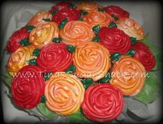 Great idea for centerpieces.  These are cupcakes!
