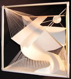 Paper String Cube by smackerkracker on DeviantArt Concept Models Architecture, Art And Architecture, Arch Model, Shape Art, Scenic Design, Abstract Drawings, Graphic Design Typography, Installation Art, Line Art