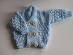 Hand knitted cosy blue jacket for toddler. by Nobodyknitsitbetter