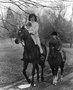 Jacqueline Kennedy Onassis, John F. Kennedy, Jr., and Caroline Kennedy, 1962