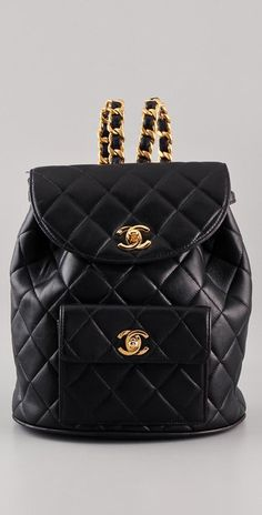 Chanel ~ Quilted leather backpack with gold chains