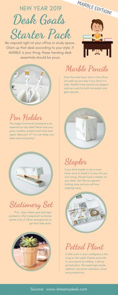 New Year, New Desk! Marble Stationery Set and Marble Desk organizers rosegoldstationery Round Marble Table, Marble Desk, Cute Office Decor, Office Decorations, Decor Ideas, Office Ideas, Cozy Office, Desk Office, Decor Diy