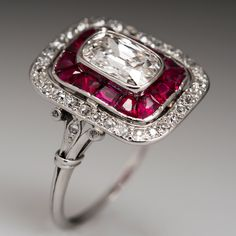 AUTHENTIC ART DECO PLATINUM HEIRLOOM DIAMOND RING 1920'S sku: wm10183 Only one available $7,999.00