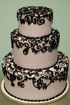 Lovely for a b'day cake also. Gorgeous black scroll piping cake by Rise and Shine Bakery. Beautiful Wedding Cakes, Gorgeous Cakes, Pretty Cakes, Amazing Cakes, Beautiful Flowers, Bolo Cake, White Cakes, Gateaux Cake, Occasion Cakes