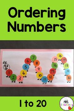 Use this cute caterpillar to put number 1-20 in order. Students learn to recognize numbers and can discuss number order with this fun craft and activity. This is a great hands on math center activity or it can be used in small groups in any prek, kindergarten or first grade class. Number Recognition Activities, Number Formation, Ordering Numbers, Primary Resources, Australian Curriculum, Phonics Activities, Writing Numbers, Help Teaching, Activity Centers