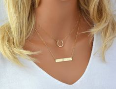 Hand Hammered Horseshoe Choker Necklace, Choker Necklace Gold, Engraved Necklace Name, Silver or Gold Name Necklace Bar