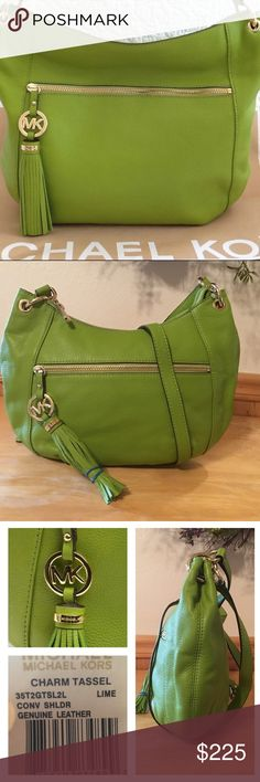 """HPNWT Michael Kors Charm Tassel Convertible NWT Michael Kors Charm Tassel Convertible Shoulder Bag in Popping Summer time Lime Green Pebbled Leather and Gold Hardware! This beauty is lined, 1 zip, multiple slip pockets the exterior has a zip pocket in front with a magnetic closing pocket on the back! Adjustable shoulder strap drop is approx 21-24"""" strap drop at elbow us approx 7.5"""" Bag measures approx 10"""" at bottom tapers up to 13"""" X 9 X 4 includes dust bag ❌no trade price firm❌ MICHAEL…"""