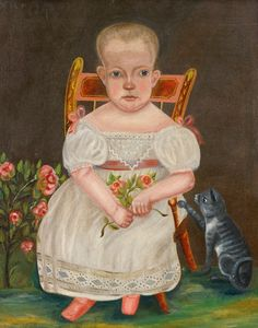 Baby Seated in a Chair with Her Cat by American School | Art Posters & Prints