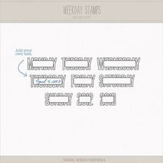 Weekday Stamps $.075