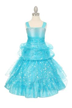 Girls Dress Style 4030 - TURQUOISE Beaded Organza Pick Up Dress  Stand out like a shooting star with this ultimate party dress. It is so fun and festive and we just love it. The bodice is organza and the entire dress is flocked with sparkly star and floral designs. The dress is beautifully beaded on the bodice.  http://www.flowergirldressforless.com/mm5/merchant.mvc?Screen=PROD&Product_Code=CC_4030TUR&Store_Code=Flower-Girl&Category_Code=Blue