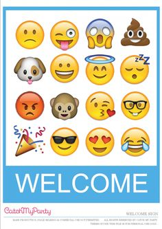 Free Emoji Party Printable Welcome Sign | CatchMyParty.com