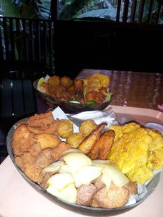 Fried Beef Chunks (Carne Frita) with Fried Plantains (Tostones)