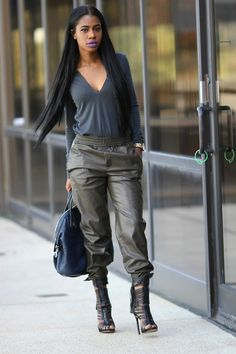 ecstasymodels:  Leather Joggers  Style by Rochelle